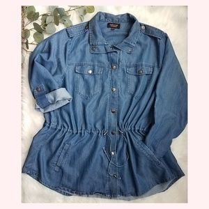 EMBOSSED by LANE BRYANT Denim Jean Jacket 22/24